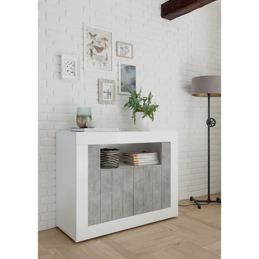 White Gloss and Concrete Grey 2 Door Sideboard