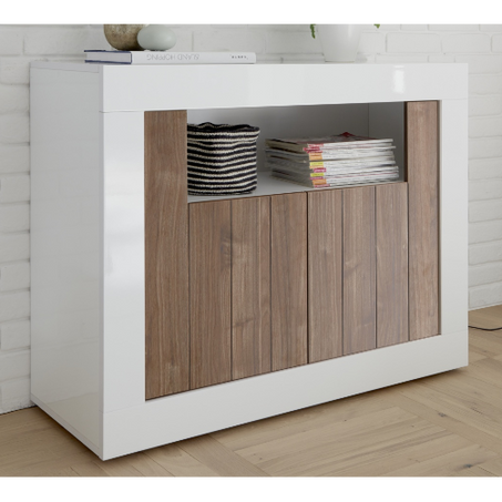 Siena 2 Door Walnut and White Gloss Sideboard