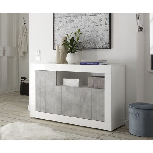 Siena 3 Door White Gloss and Concrete Grey Sideboard - FurniComp
