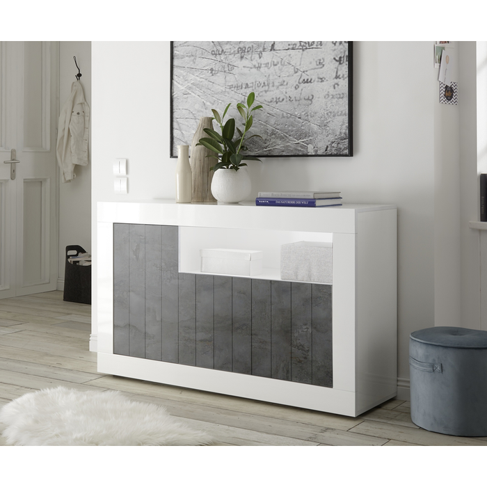 Siena 3 Door White Gloss and Anthracite Sideboard - FurniComp