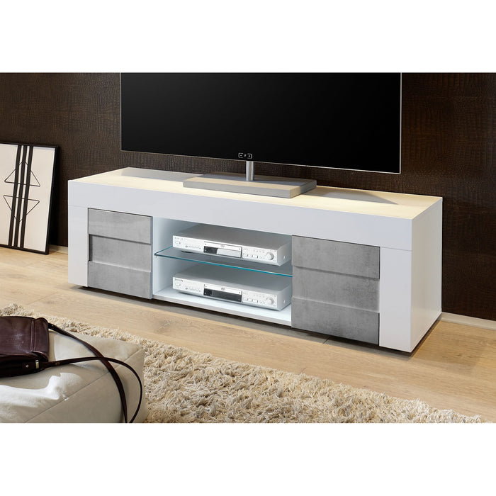 Milano Small 2 Door White Gloss and Grey TV Unit - FurniComp