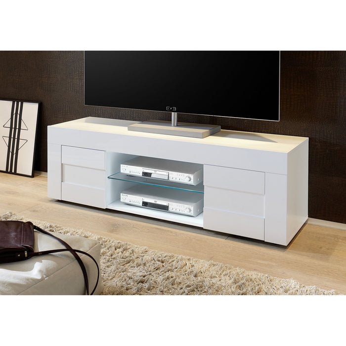 Milano Small 2 Door White Gloss TV Unit - FurniComp