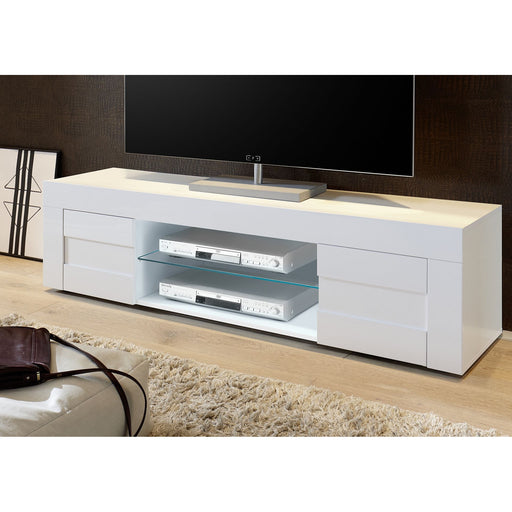 Milano Large 2 Door White Gloss TV Unit - FurniComp