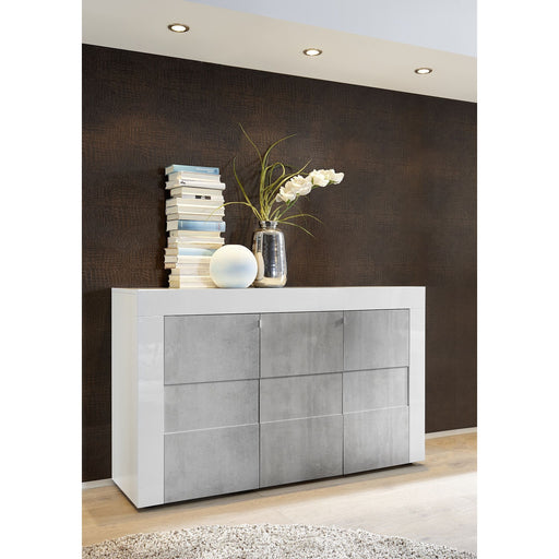 Milano 3 Door White Gloss and Grey Sideboard - FurniComp