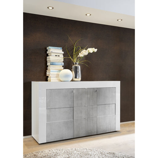 High Gloss White and Slate Grey 2 Door 3 Drawer Sideboard