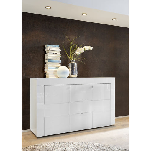 high gloss white 3 door 2 drawer sideboard