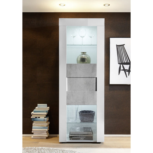 Milano 1 Door White Gloss and Grey Display Cabinet - FurniComp