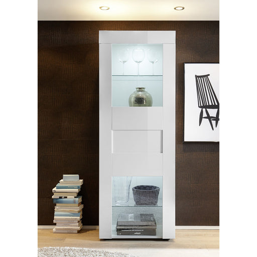 Milano 1 Door White Gloss Display Cabinet - FurniComp