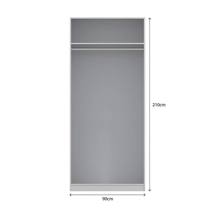 Georgia High Gloss Grey and Oak 2 Door Wardrobe - FurniComp