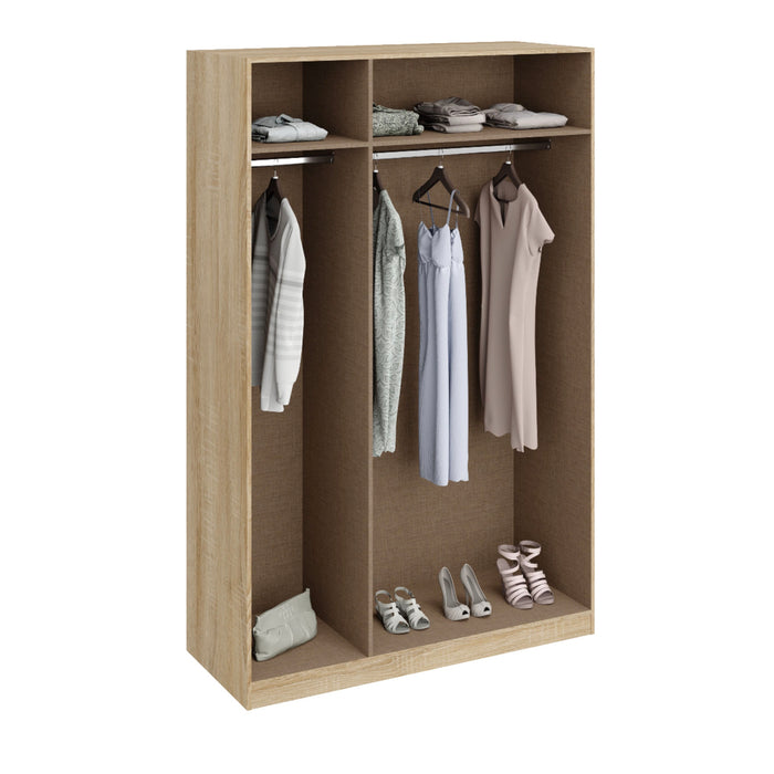 Anita High Gloss White and Oak 3 Door Wardrobe - FurniComp