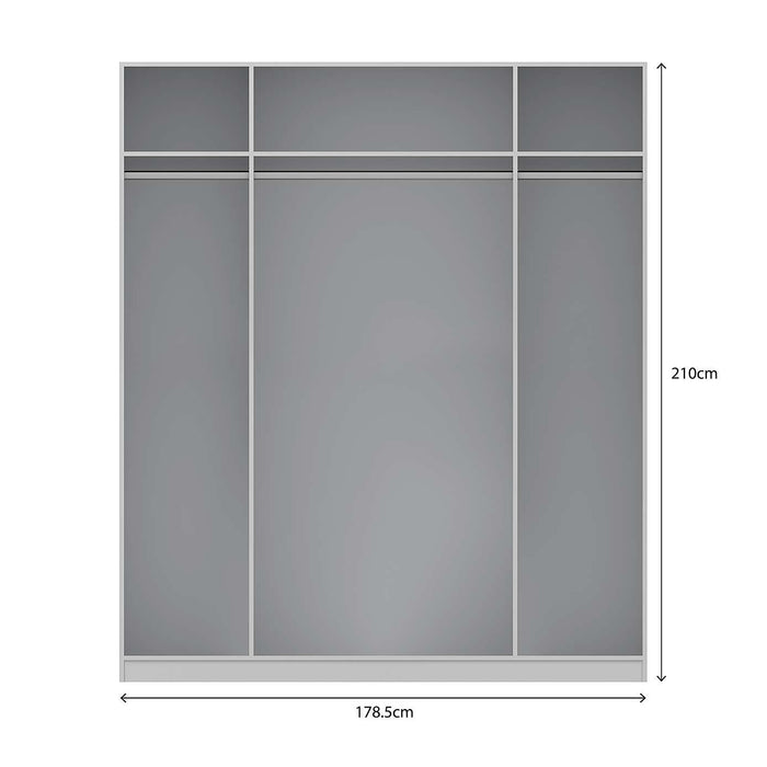 Georgia High Gloss Grey and Oak 4 Door Mirrored Wardrobe - FurniComp
