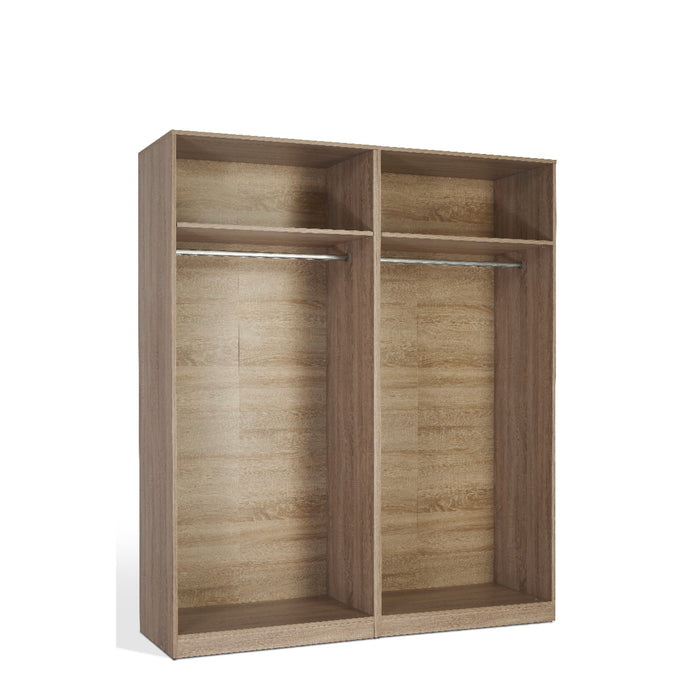 Louise Oak and White 4 Door Mirrored Wardrobe - FurniComp