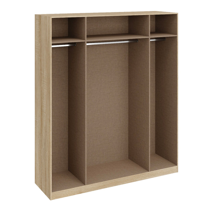 Georgia High Gloss Grey and Oak 4 Door Wardrobe - FurniComp