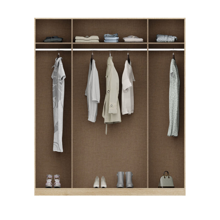 Anita High Gloss White and Oak 4 Door Wardrobe - FurniComp