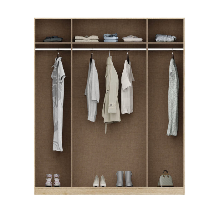 Anita High Gloss White and Oak 4 Door Mirrored Wardrobe - FurniComp