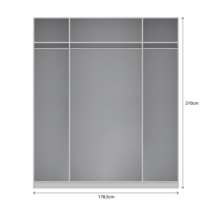 Lara White and Oak 4 Door Mirrored Wardrobe - FurniComp