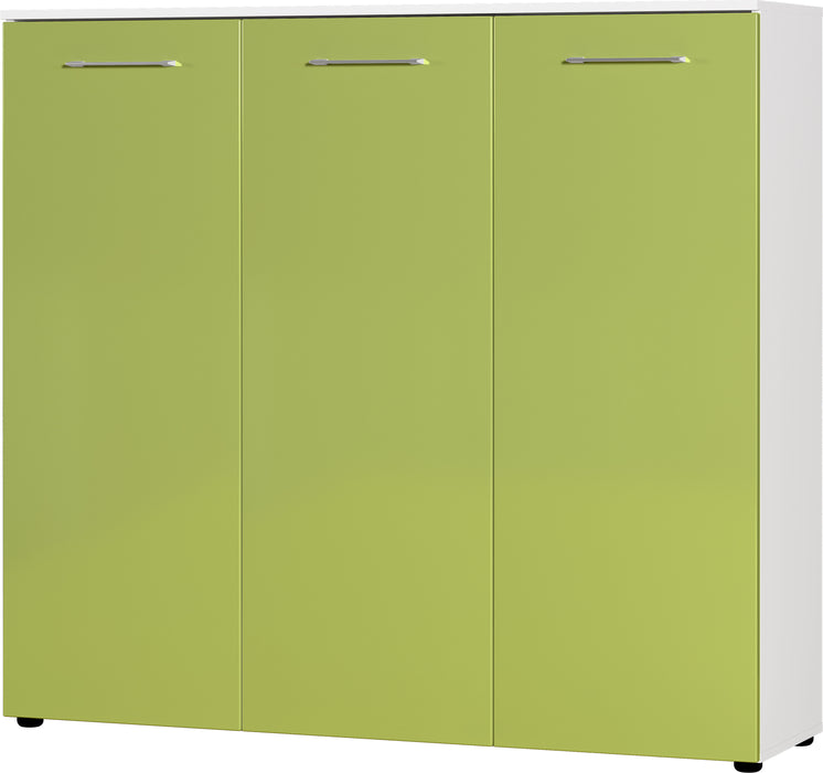 Cali 3 Door High Gloss Green Large Shoe Cabinet - FurniComp