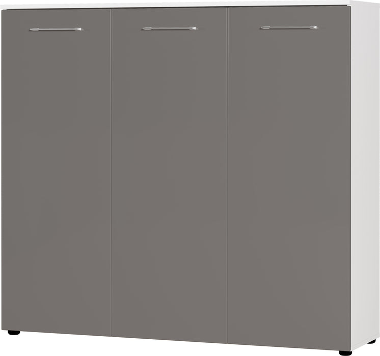 Cali 3 Door Matt Basalt/Dark Grey Large Shoe Cabinet - FurniComp