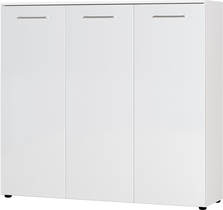 Cali 3 Door White High Gloss Large Shoe Cabinet - FurniComp