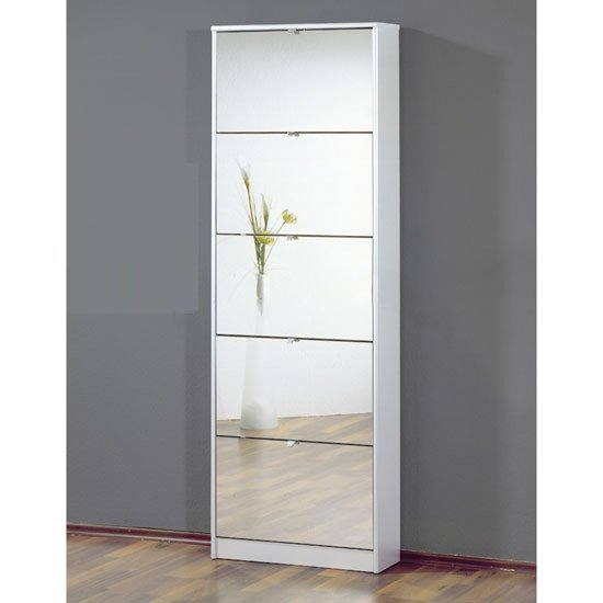 Abella Tall Mirrored Shoe Storage Cabinet In White With Five Drawers SC1010 - FurniComp