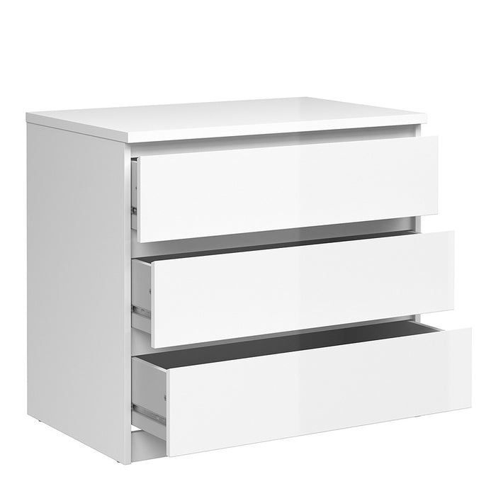 Alaska 3 Drawers White Gloss Chest of Drawer - FurniComp
