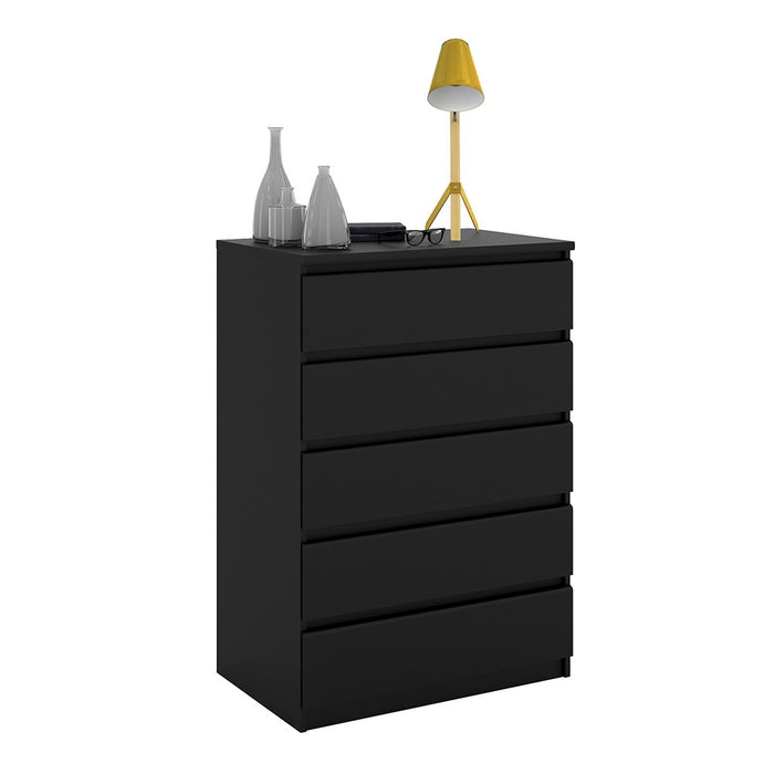 Alaska 5 Drawers Matt Black Chest of Drawer - FurniComp