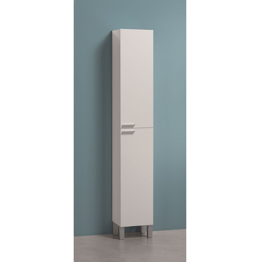 Alaska Tall Narrow White Gloss Bathroom Cupboard Storage Cabinet - FurniComp