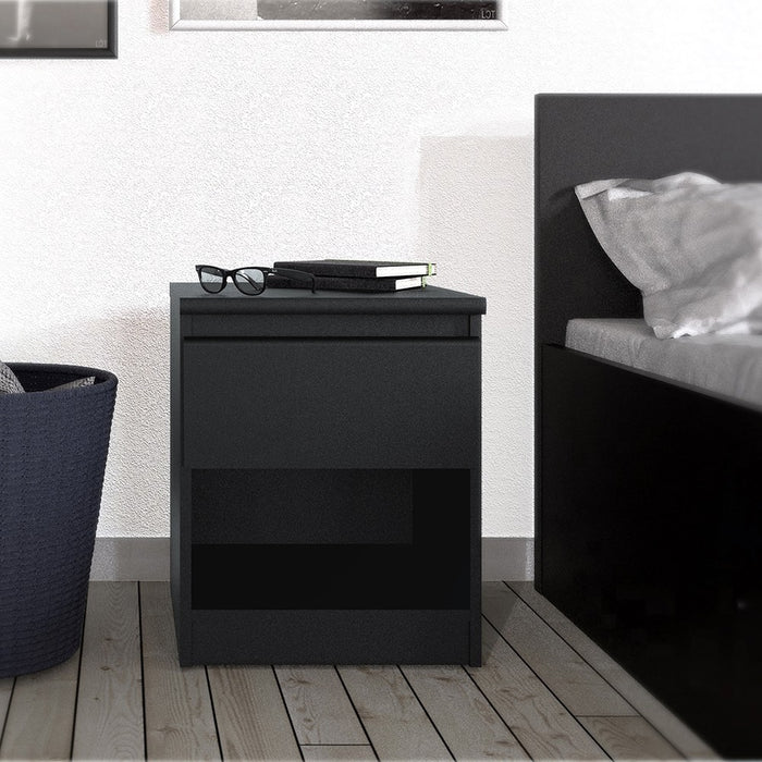 Alaska Matt Black 1 Drawer 1 Shelf Bedside - FurniComp