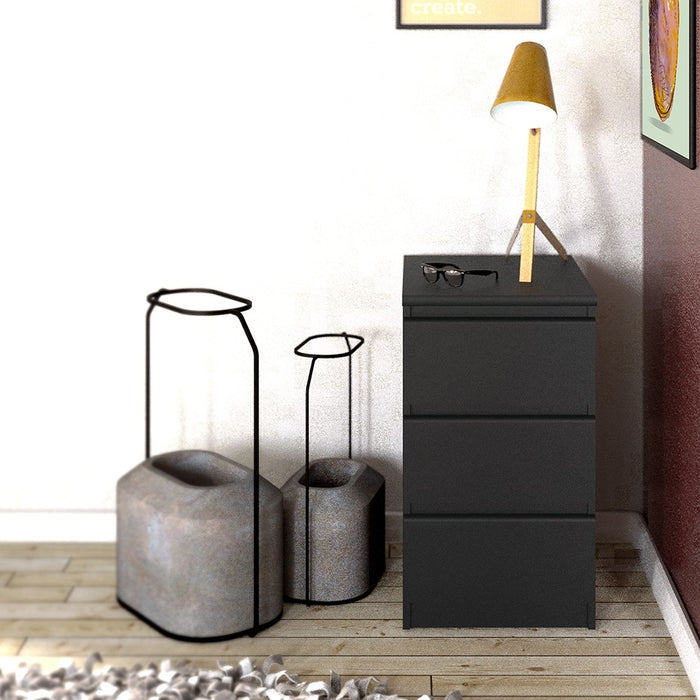 Alaska Matt Black 3 Drawer Bedside - FurniComp