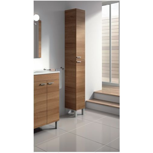 Alaska Tall Narrow Nut Brown Bathroom Cupboard Storage Cabinet - FurniComp