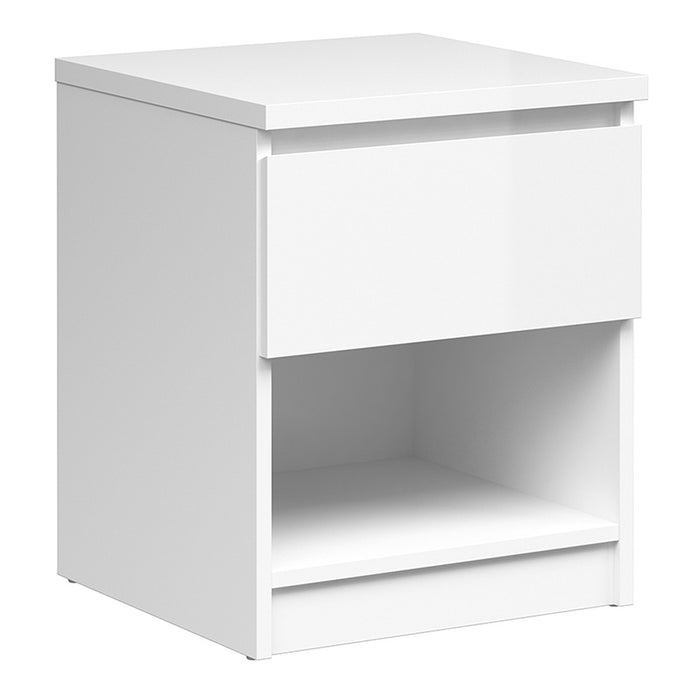 Alaska White Gloss 1 Drawer 1 Shelf Bedside - FurniComp