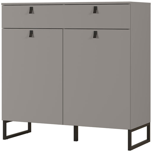 Alberta 2 Door 1 Drawer Stone Grey Shoe Cabinet - FurniComp