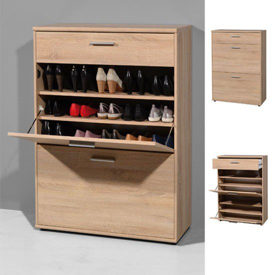 Albury Wall Mounted Shoe Storage Cabinet In Oak SC1007 - FurniComp