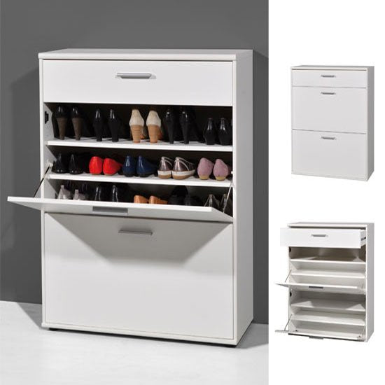 Albury Wooden Shoe Storage Cabinet In White SC1001