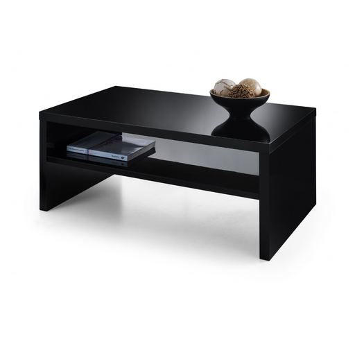 Alcantara Black High Gloss Lacquered Mirror Finish Coffee Table
