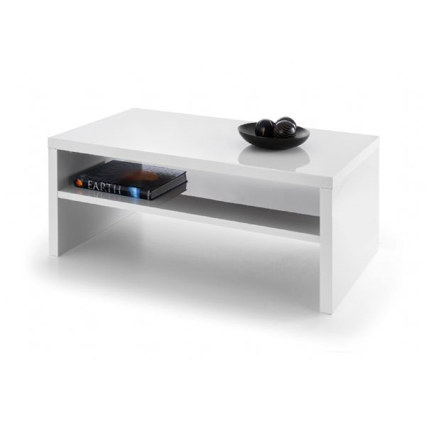 Alcantara White High Gloss Lacquered Mirror Finish Coffee Table - FurniComp