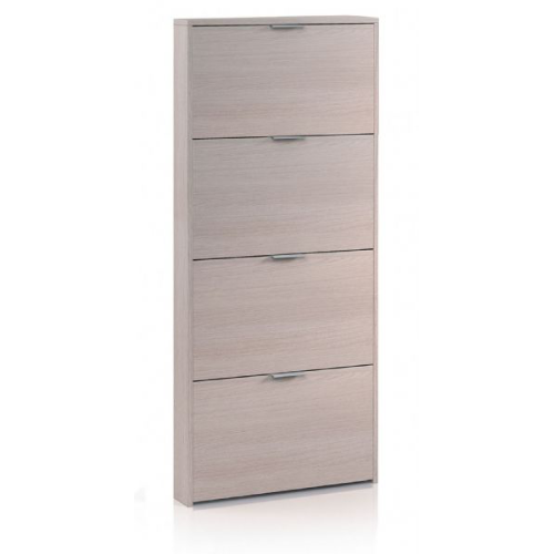 Alexandria Tall 4 Drawer Oak Effect Shoe Storage Cupboard