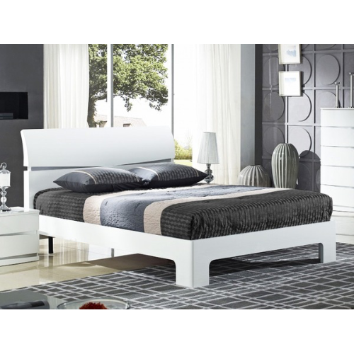 Alida High Gloss White Double Bed - FurniComp