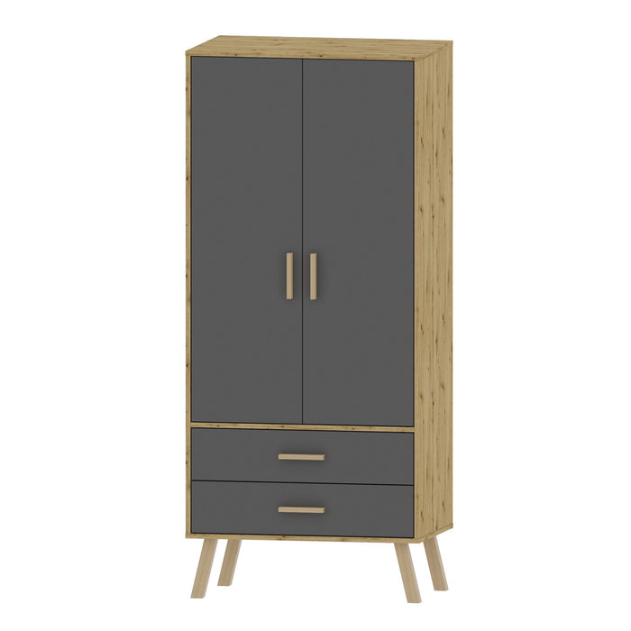 Alta 2 Door 2 Drawer Oak and Grey Wardrobe - FurniComp