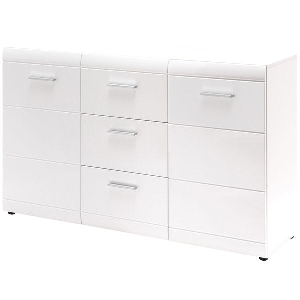 Amelia 2 Door 3 Drawer White Gloss Sideboard - FurniComp