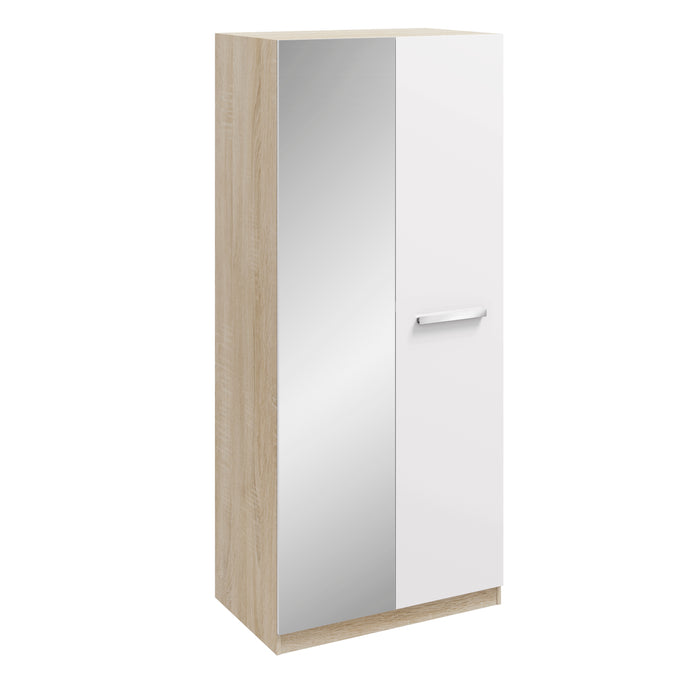 Anita High Gloss White and Oak 2 Door Mirrored Wardrobe - FurniComp