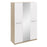 Anita High Gloss White and Oak 3 Door Mirrored Wardrobe - FurniComp