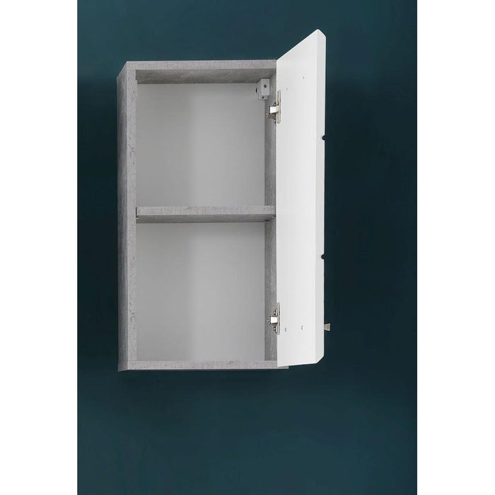 Anzio 1 Door White Gloss and Concrete Grey Wall Bathroom Cabinet - FurniComp