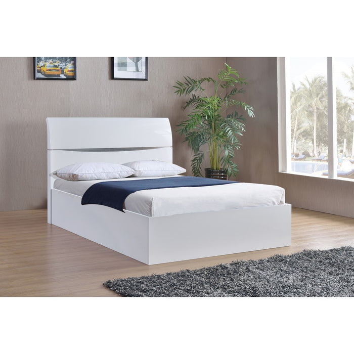 Alida High Gloss White Lift Up Storage Kingsize Bed - FurniComp