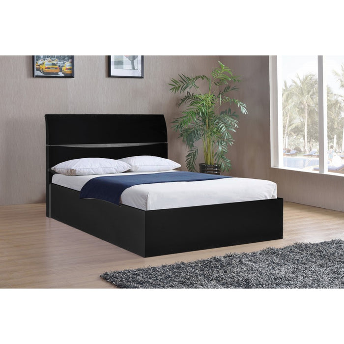 Alida High Gloss Black Lift Up Storage Double Bed - FurniComp