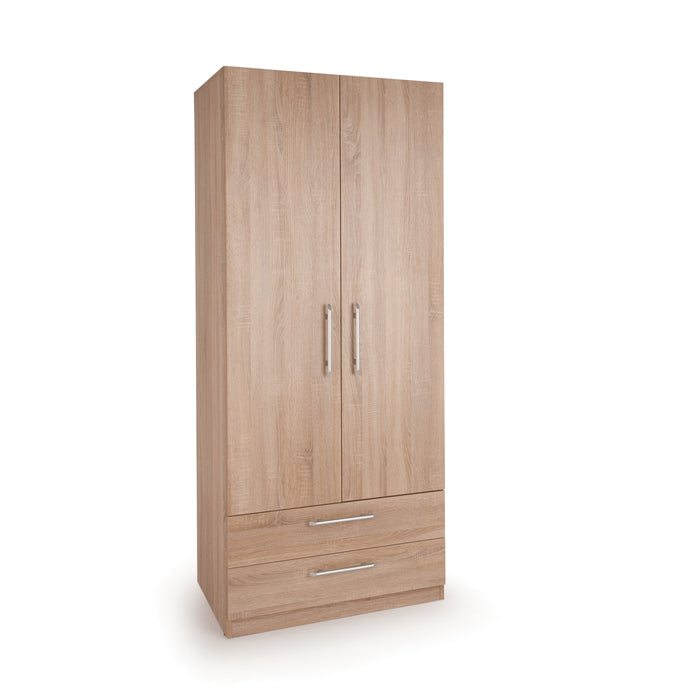 Aria Oak 2 Door 2 Drawer Wardrobe - FurniComp