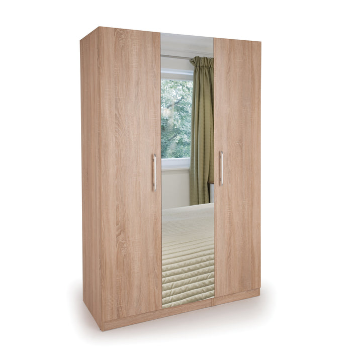 Aria Oak 3 Door Mirrored Wardrobe - FurniComp