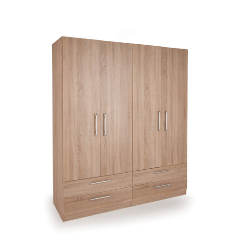 Aria Oak 4 Door 4 Drawer Wardrobe - FurniComp
