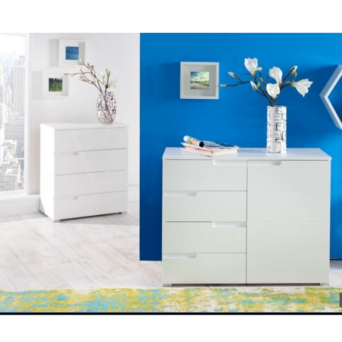 Aspen White Gloss Compact Sideboard Storage Cabinet Cupboard Unit - FurniComp