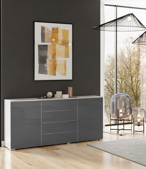 Aspen Grey And White Gloss Wide Sideboard Storage Cabinet Cupboard Unit